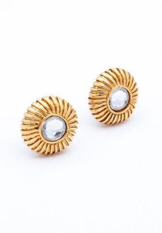 Vintage Chanel Clear Cabachon Earrings