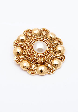 Vintage Chanel Hammered Gold Pearl Pin