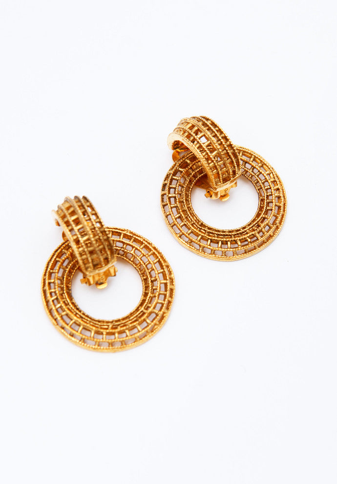 Vintage Chanel Gold Etched Hoop Earrings