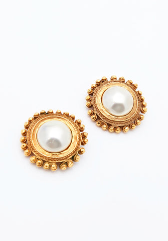 Vintage Chanel Pearl Modernist Earrings
