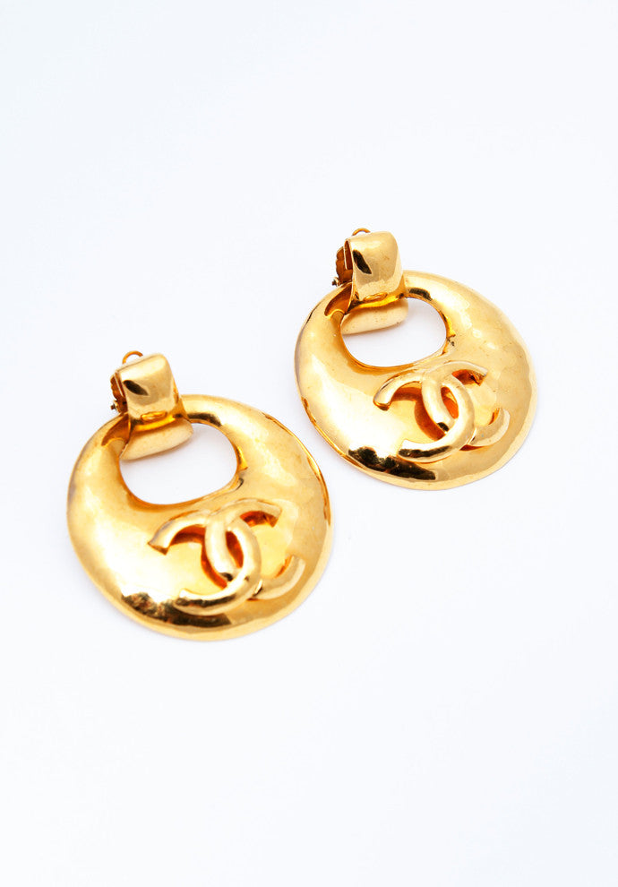 Vintage Chanel Gold Doorknocker Earrings HUGE