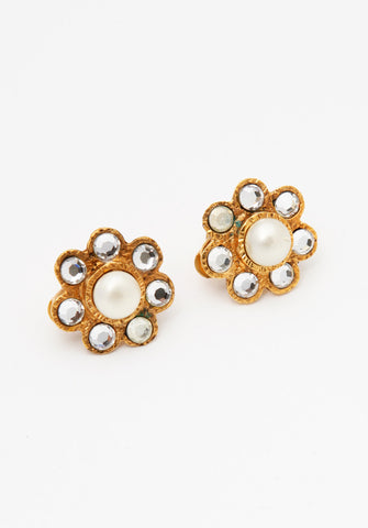 Vintage Chanel Pearl Rhinestone Flower Earrings