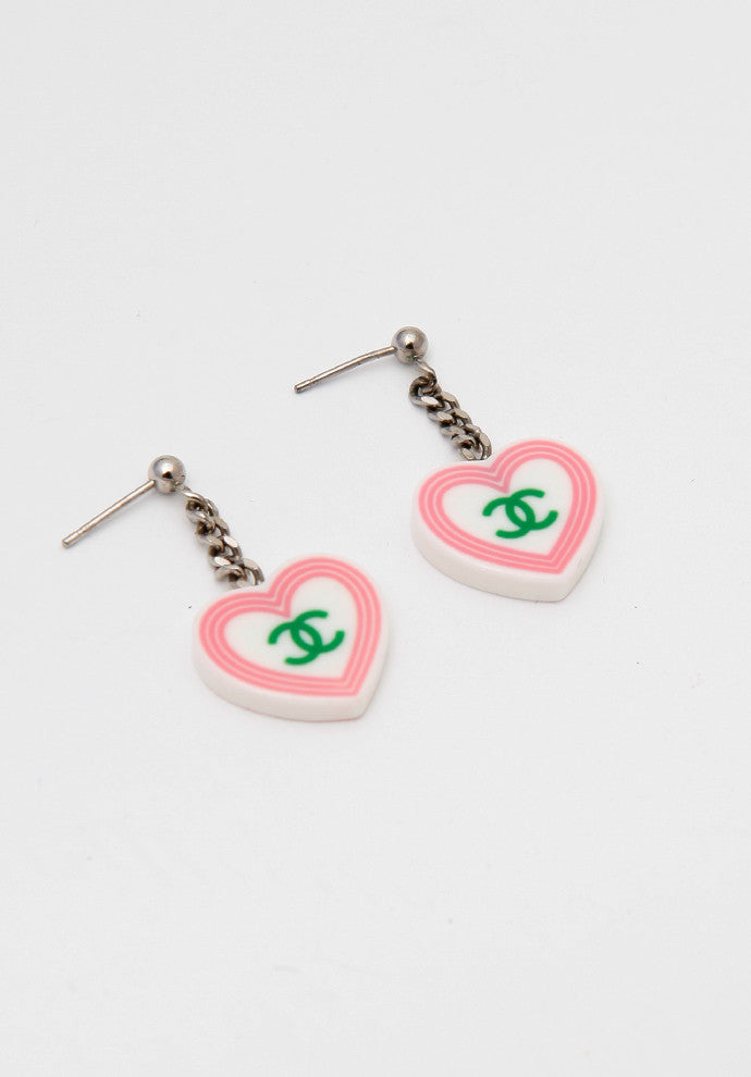 Chanel White Heart Dangle Earrings