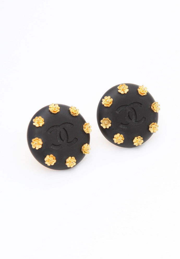 Vintage Chanel Black Camelia Earrings