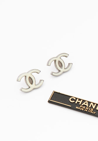 Chanel White Logo Earrings