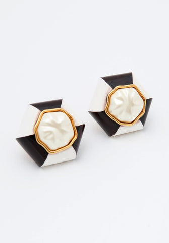 Vintage Chanel Black and White Mod Earrings