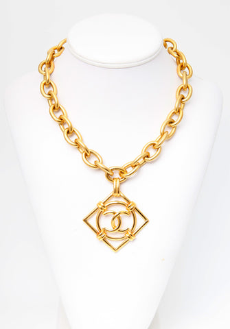 Vintage Chanel Square Medallion Chain Necklace