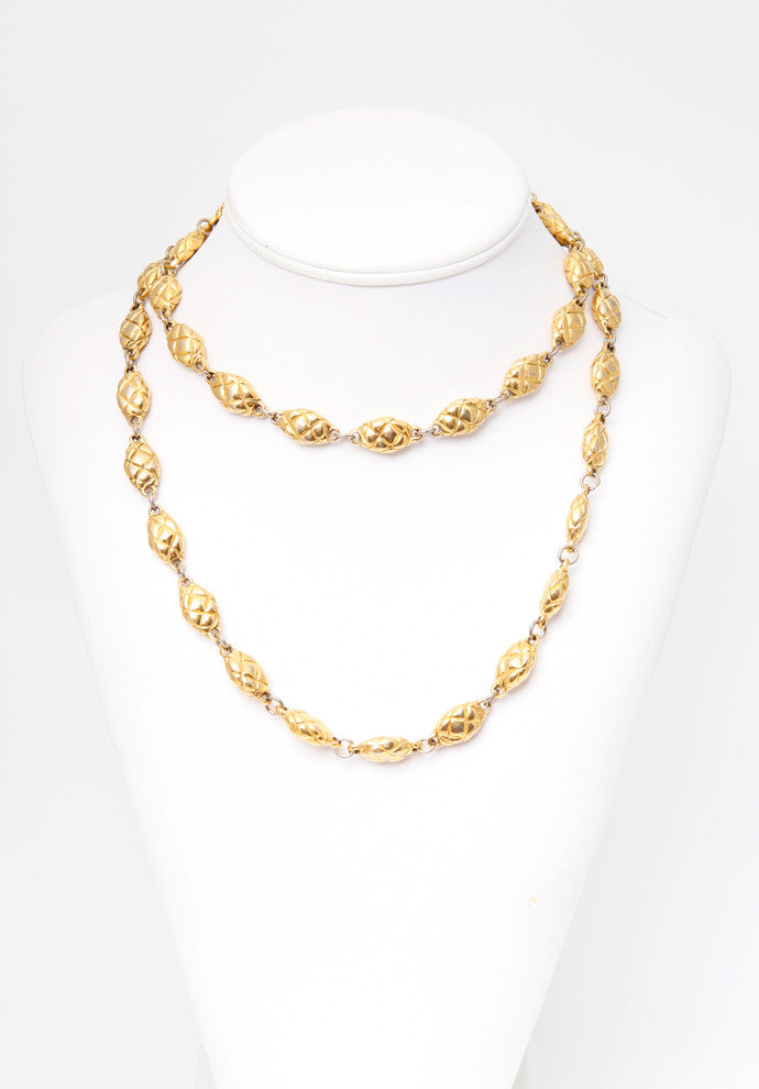 Vintage Chanel Quilted Egg Bead Necklace