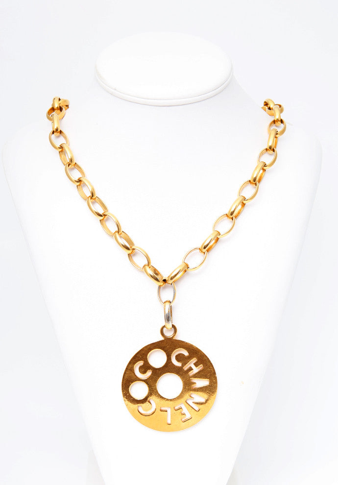 Vintage Chanel Circle Medallion Logo Necklace
