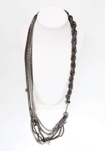 Chanel Gunmetal Multi-Chain Knotted Necklace