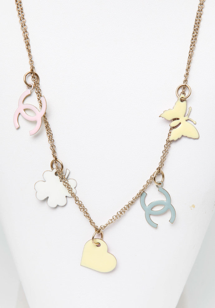 Chanel Butterfly Heart Shamrock Pastel Charm Necklace