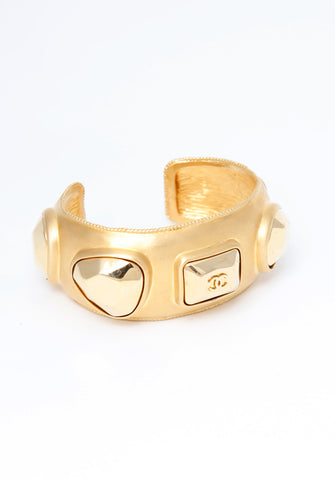 Chanel Gold Studded Cuff Bracelet