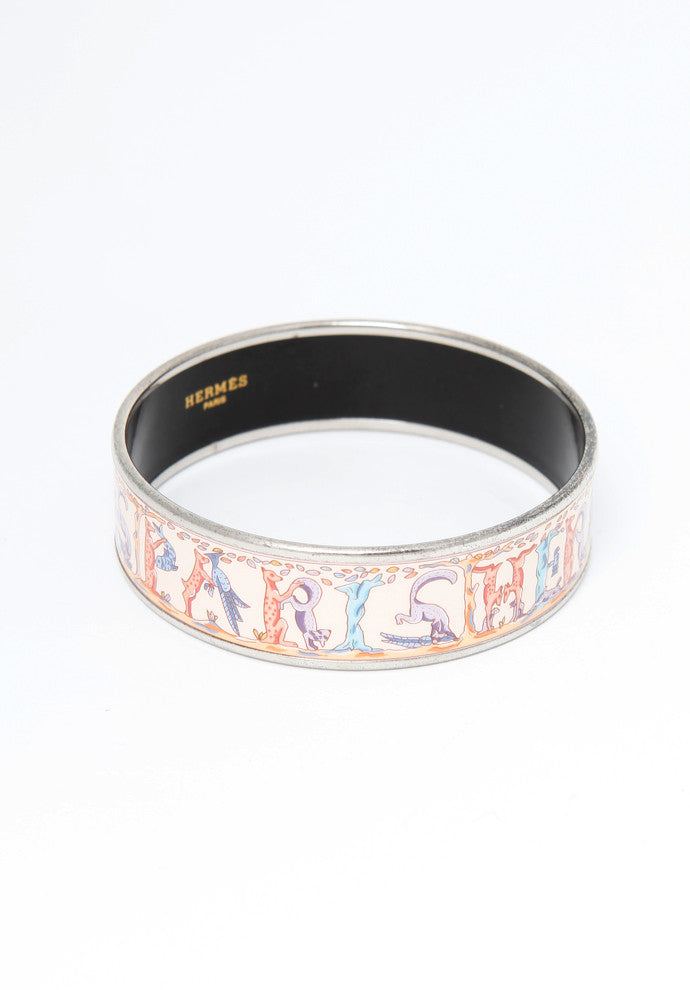 Hermes Pink Enamel Bangle GM