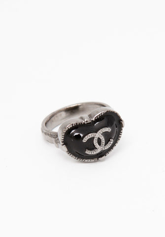 Chanel Gunmetal Black Bean Ring