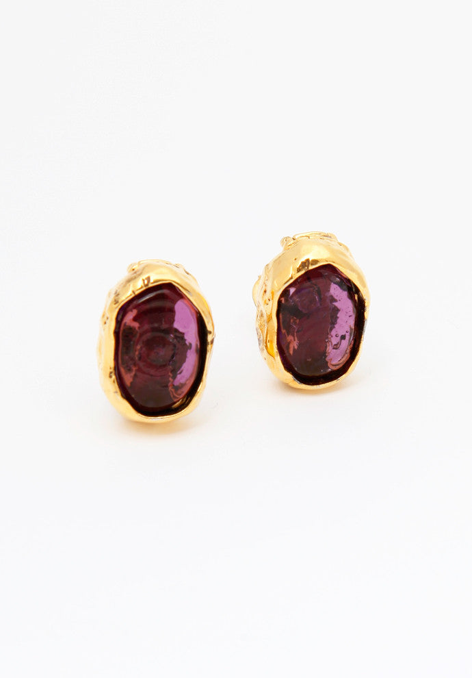 Vintage Chanel Purple Gripoix Earrings