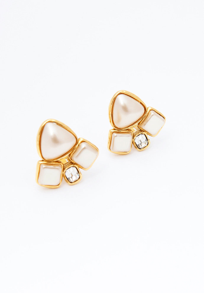 Vintage Chanel Asymmetrical Pearl Earrings