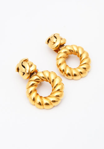 Vintage Chanel Swirl Hoop Earrings