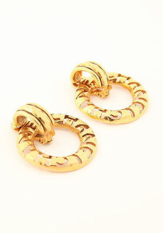 Vintage Chanel Hammered Hoop Earrings