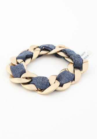 Chanel Gray Chain Weaved Classic Bracelet