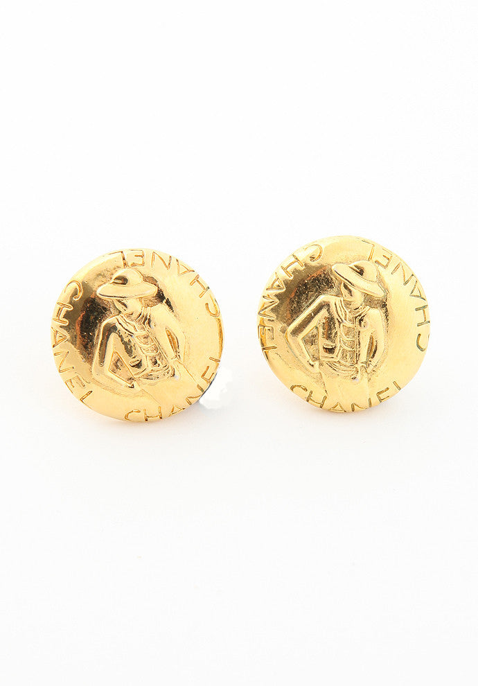 Vintage Chanel Iconic Woman Gold Earrings
