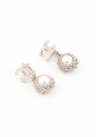 Chanel Pearl Logo Dangle Earrings