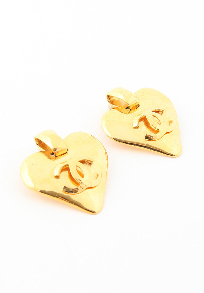 Vintage Gold Chanel Heart Earrings