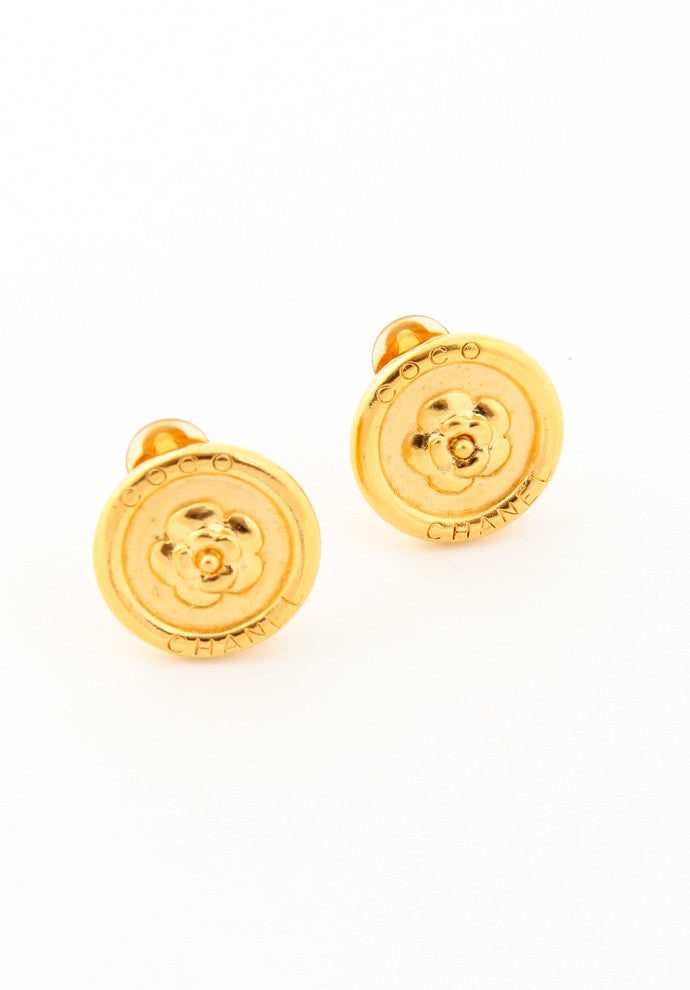 Chanel Round Camelia Flower Earrings