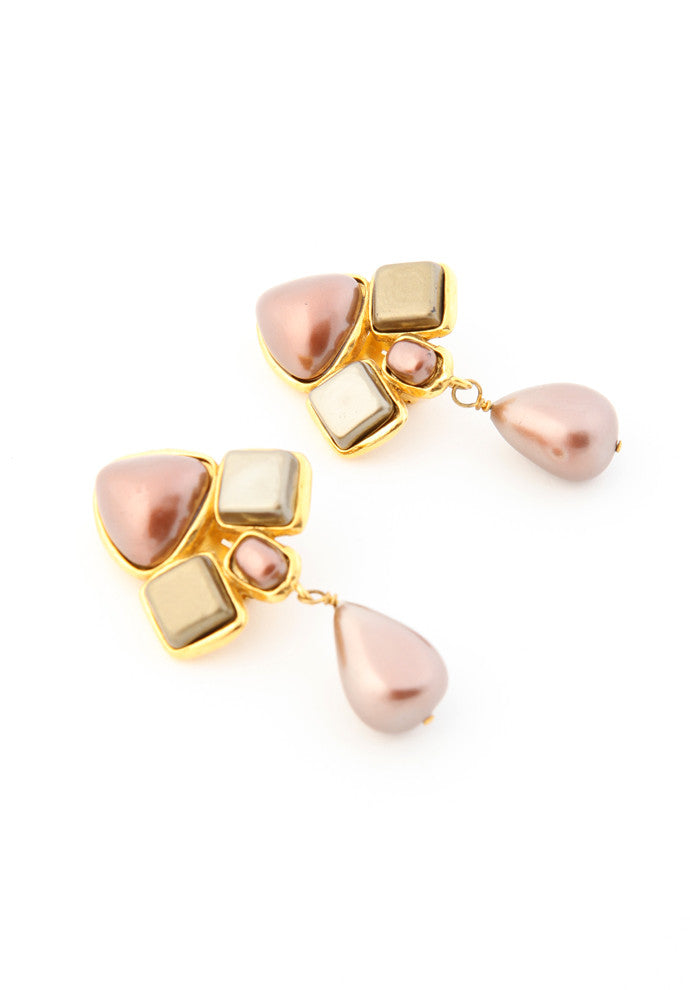 Vintage Chanel Rose Pearl Earrings