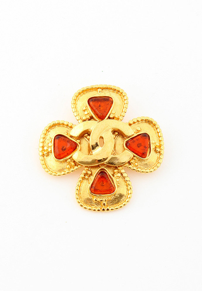 Vintage Chanel Gripoix Amber Brooch Pin