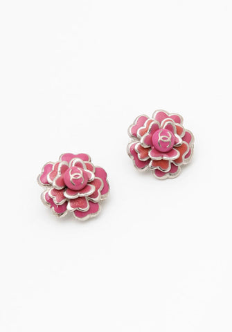 Chanel Pink Camelia Earrings