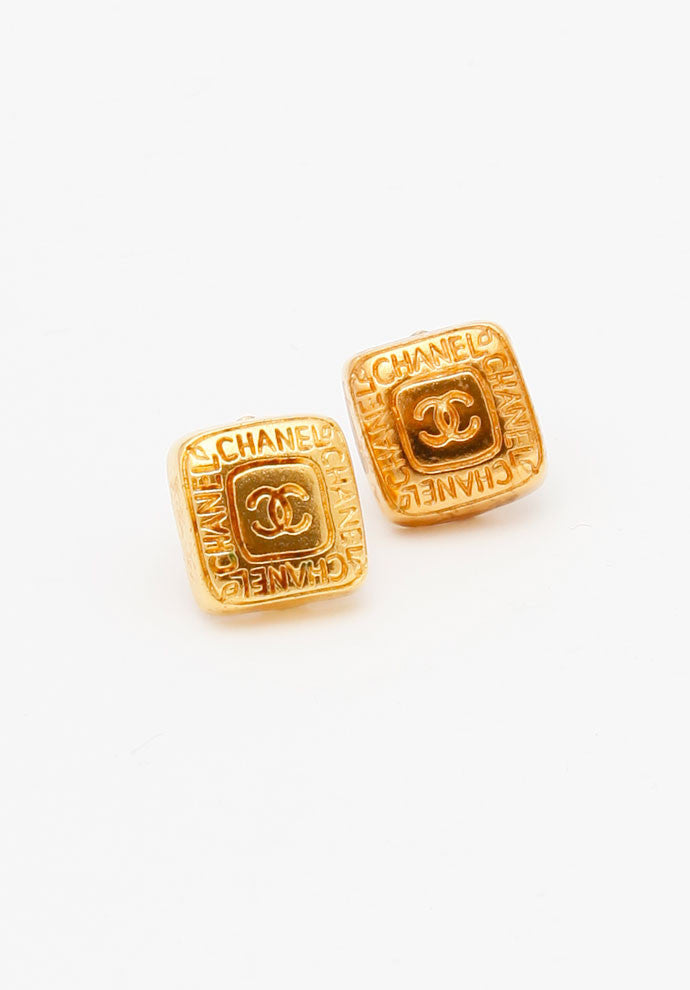 Vintage Chanel Square Etched Logo Earrings