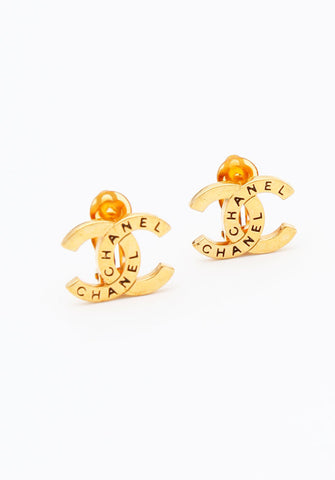 Vintage Chanel Gold Classic CC Logo Earrings