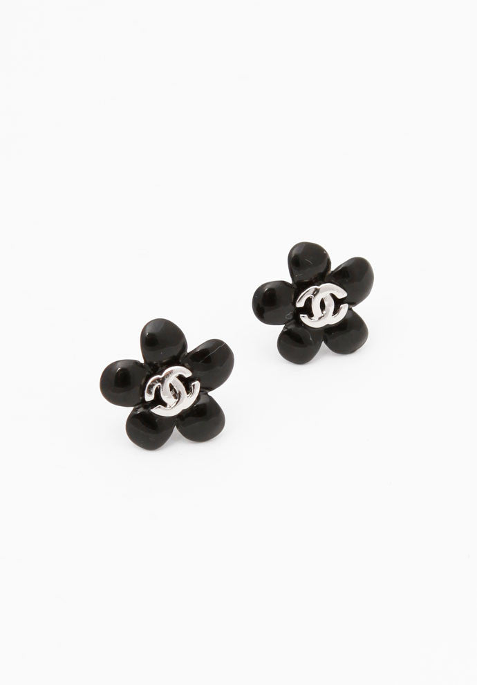 Chanel Black Camelia Flower Logo Earrings
