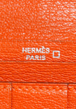 Classic Orange Hermes Crocodile Bearn Bi-Fold Wallet