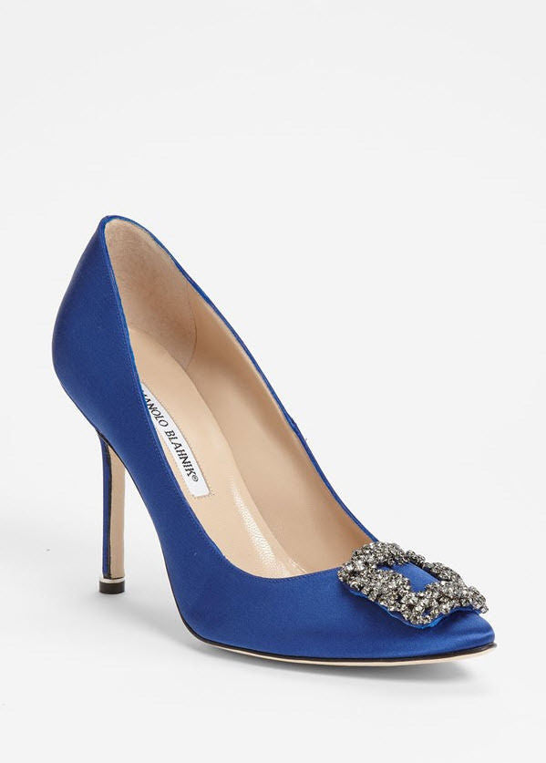 Manolo Blahnik Hangisi Blue Satin Jeweled Pumps Heels 39 8.5 9 Sex and the City