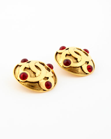 Vintage Chanel Red Gripoix Logo Earrings