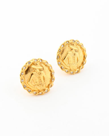 Vintage Chanel Rhinestone Iconic Woman Earrings