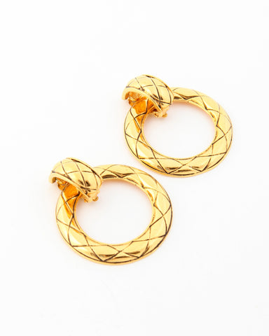 Vintage Chanel Quilted Two Way Earrings
