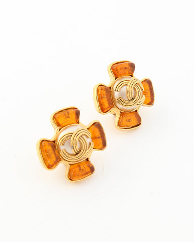 Vintage Chanel Orange Gripoix Maltese Cross Earrings