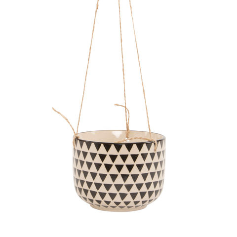 Black Geo Hanging Planter