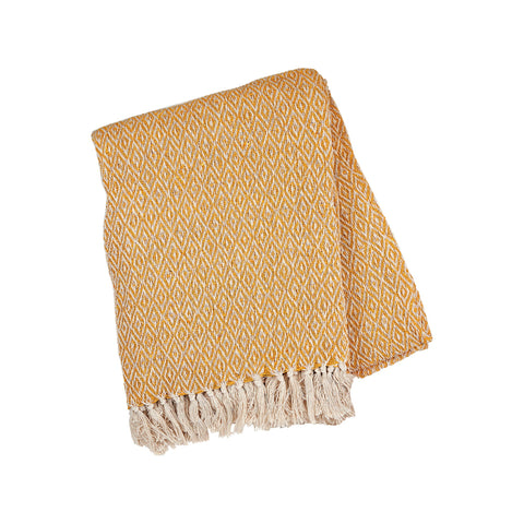 Scandi Boho Mustard Blanket Throw