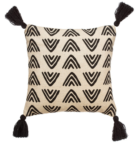 Monochrome Triangles Block Print Cushion