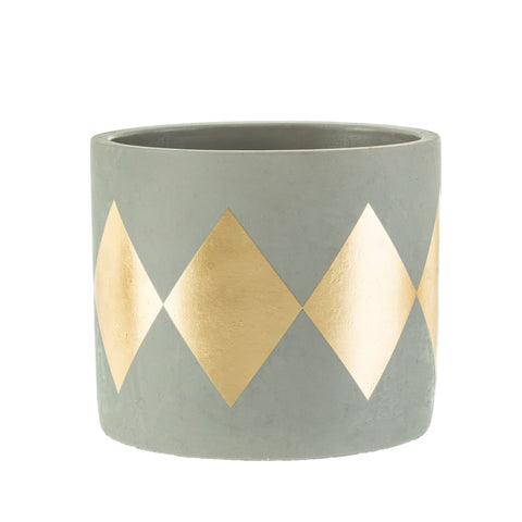 Grey & Gold Harlequin Cement Planter