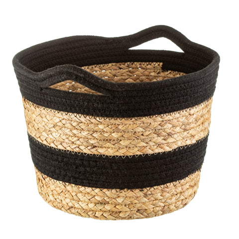 Black Grass & Rope Stripe Basket