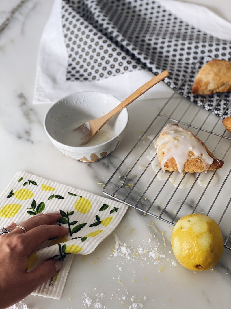 Sponge Cloth & Tea Towel Gift Set - Lemons