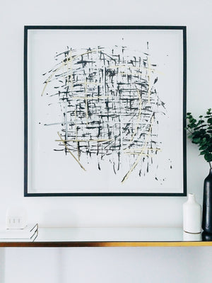 Black and Gold Splatter Framed Print