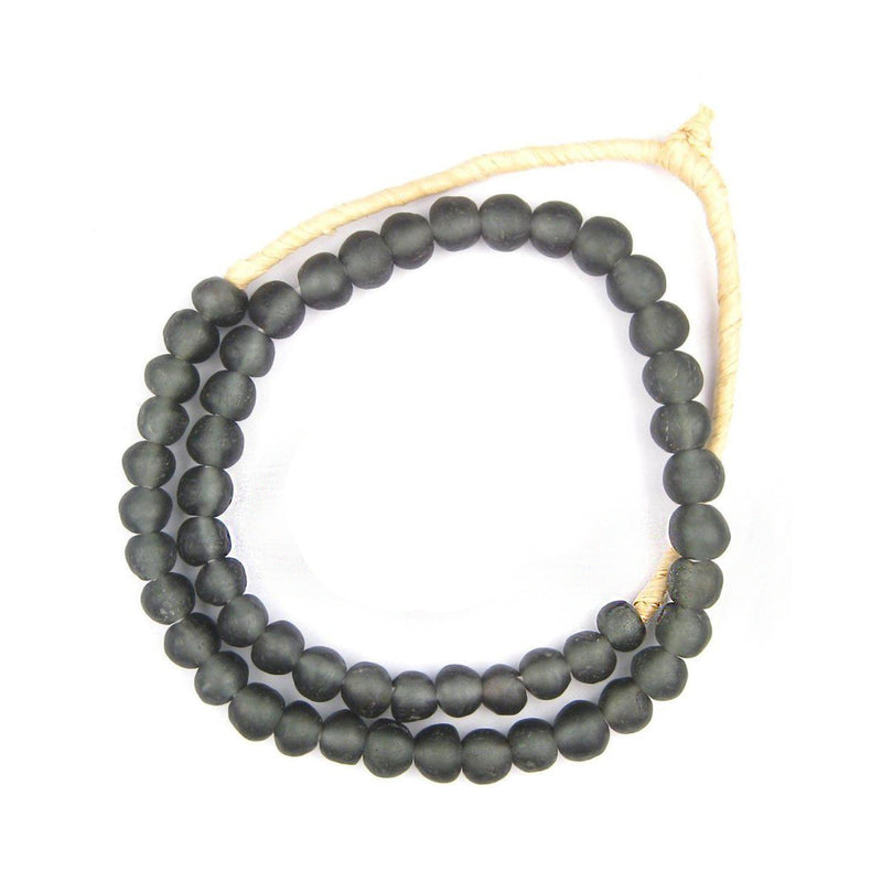 Charcoal Black Recycled Glass Beads