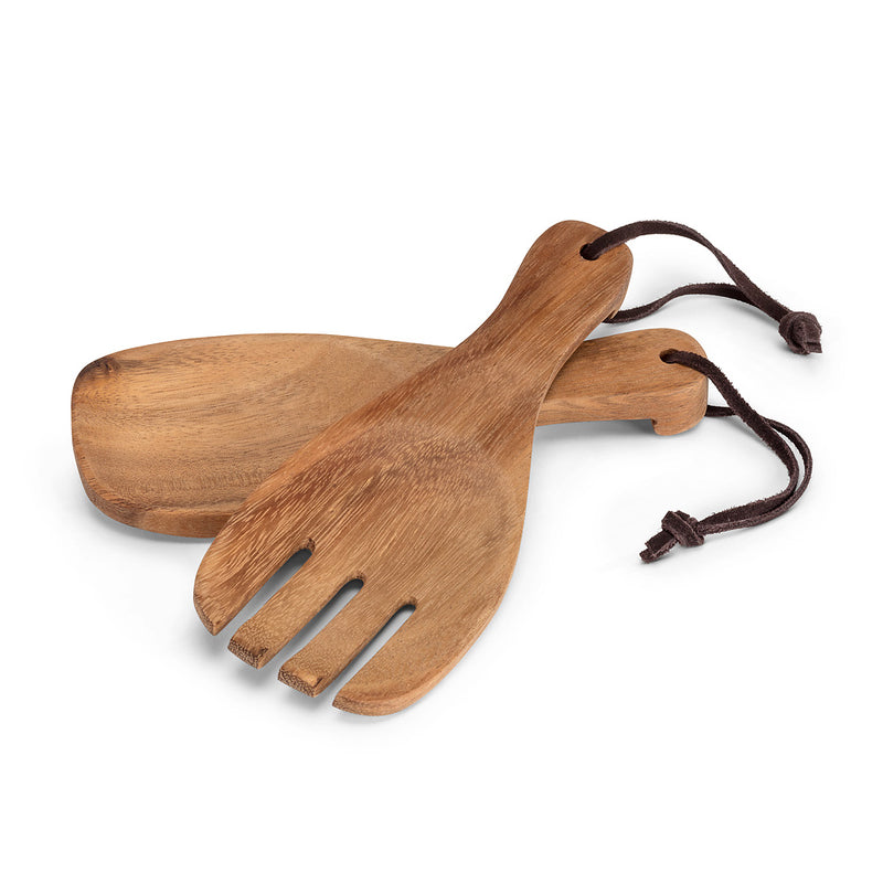 Wooden Acadia Short Serving Spoons