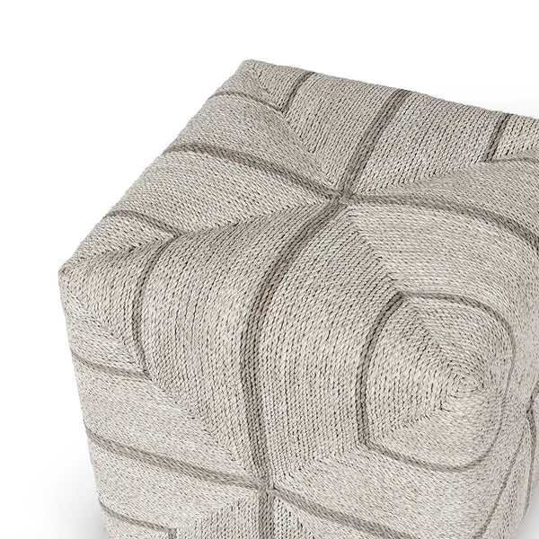 Allied Square Roped Ottoman - Fog White