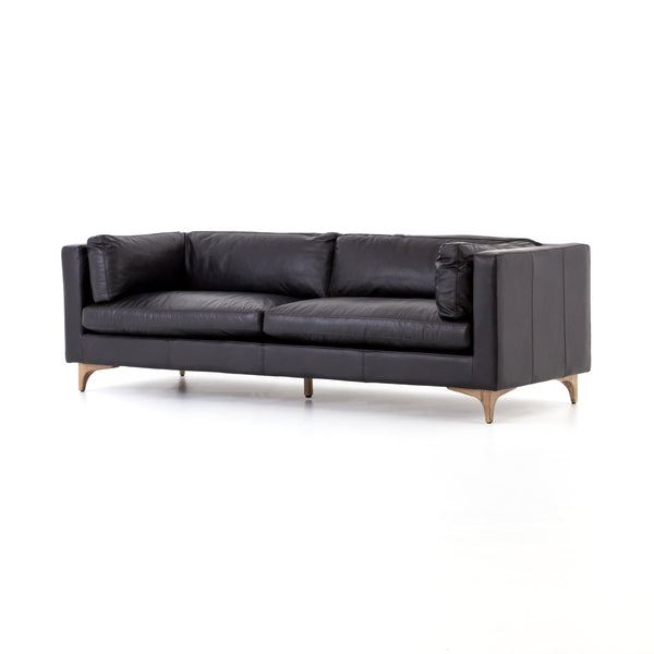 Brackley Black Leather Sofa